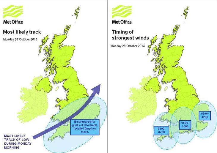 Карта с сайта британской метеослужбы Met Office