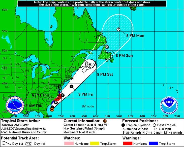Карта с сайта NHC