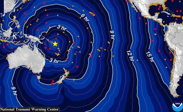 Карта с сайта Центра предупреждения об угрозе цунами Западного побережья США и Аляски