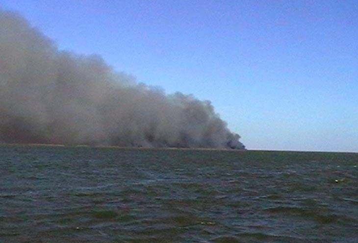 Пожар на острове Коневском. Фото с сайта ГУ МЧС России по Астраханской области