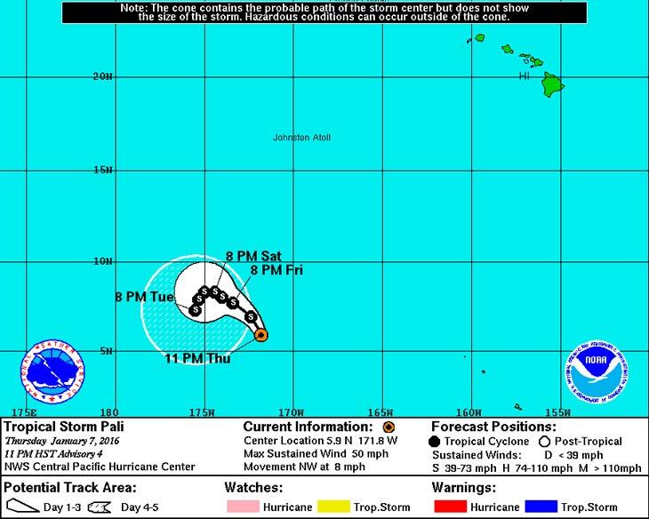 Карта с сайта Центра по слежению за ураганами в центральной части Тихого океана